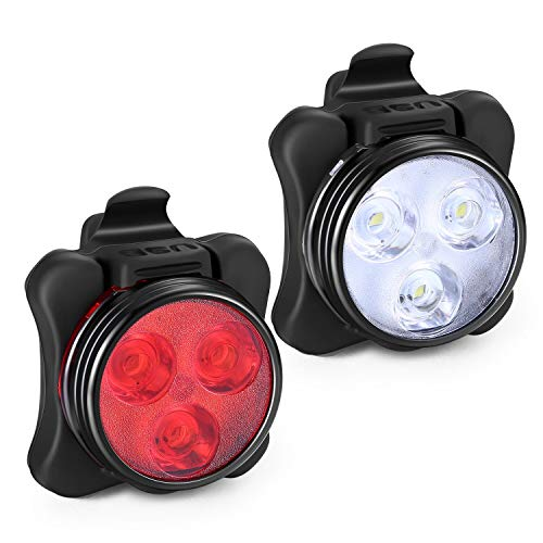 Akale Rechargeable Bike Light Set, Super Bright LED Bicycle Lights Front and Rear, 4 Light Mode Options, 650mah Lithium Battery, Bike Headlight, IPX4 Waterproof, 2 USB Cables 3 Strap - Kit Night Light Scooter