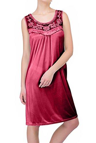 (Ezi Women's Nightgowns18 Sleeveless 100% Polyester Ruffle Gown,Fuschia,L)