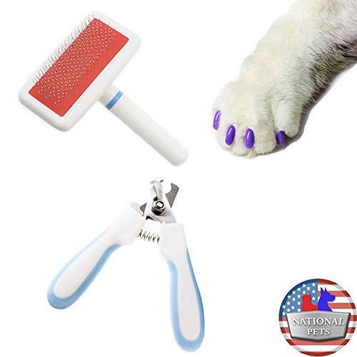 National Pets USA – Cat Pet Grooming Kit [Brush, Nail Trimming Scissors, Nail File, Nail Caps] Set of 4