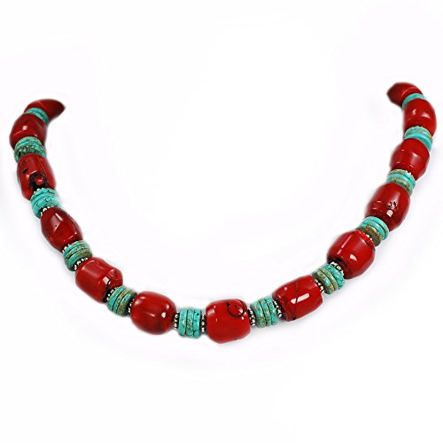[001 Ny6design Red Coral Nugget Beads & Blue Turquoise Necklace w Silver Plated Toggle 18