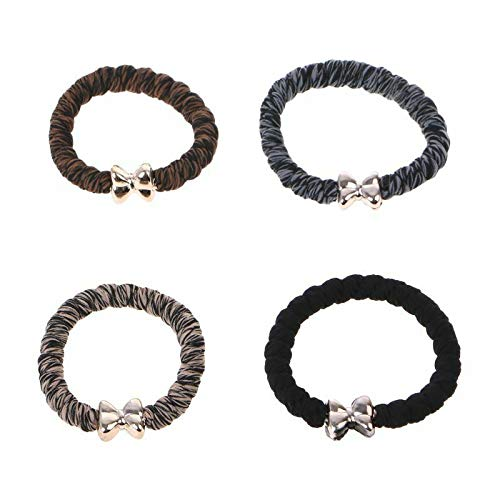 4 Pcs/Mixed Color Women High Elasticity Rubber Band Hair Rope Ponytail Holder (Color - Mix Color)