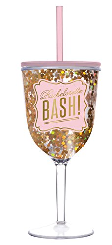 Bachelorette Wine Glass - Bachelorette Bash Acrylic Wine Glass with Lid and Straw (13 oz, Gold Confetti, Gold Foil Print, Light Pink)