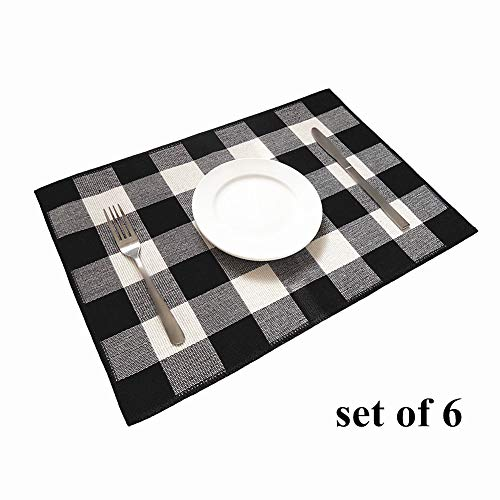 (Ukeler Placemats Set of 6 - Buffalo Check Plaid Placemats 100% Cotton Crossweave Plaid Woven Placemats Washable Decorative Heat Insulation Kitchen Table Mats, Black and White)