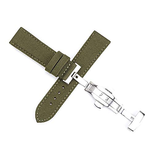 (Canvas Nylon Genuine Leather Watch Band Replacement Wrist Band with Butterfly Development Folding Clasp Buckle Sports Military Retro Men Watchbands (22mm, Green))