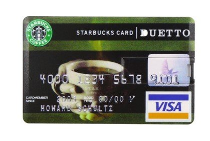 Llave USB, tamaño de Tarjeta de Crédito (16GB), USB 2.0 – Tarjeta USB Memory Stick – Flash Drive Starbucks Card