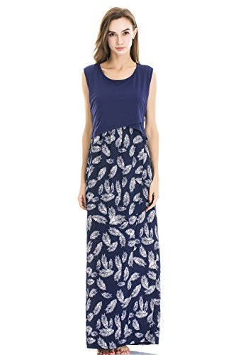Bearsland Women's Maternity Comfy Soft Sleeveless Breastfeeding Clothes Floral Print Nursing Maxi Dress Blue
