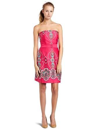 Laundry by Design Womens Border Print Strapless Dress, Watermelon, 10