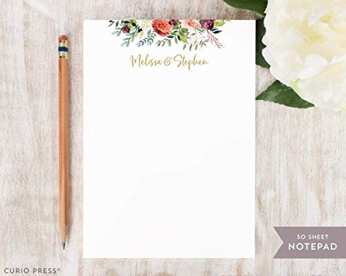 DIVINE FRAME NOTEPAD - Flower Personalized Stationery/Stationary 5x7 or 8x10 Note Pad (Personalized Wedding Notepads)