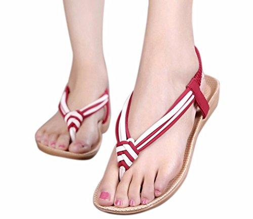 hunpta Women Slipper Summer Beaded Bohemian Sandals Beach Shoes Flat Shoes Red