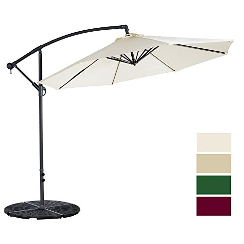 Cloud Mountain 10 Ft Patio Umbrella Offset Cantilever Hanging Outdoor 8 Steels Ribs 100% Polyester, Beige - White Patio Umbrella