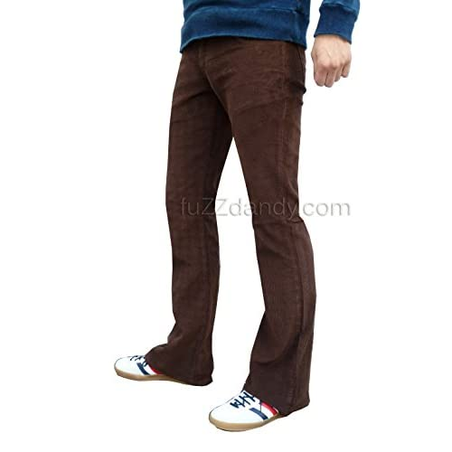 fe7234719155 Mens Brown Bootcut Flares Corduroy Pants Jeans Retro Vintage low-cost