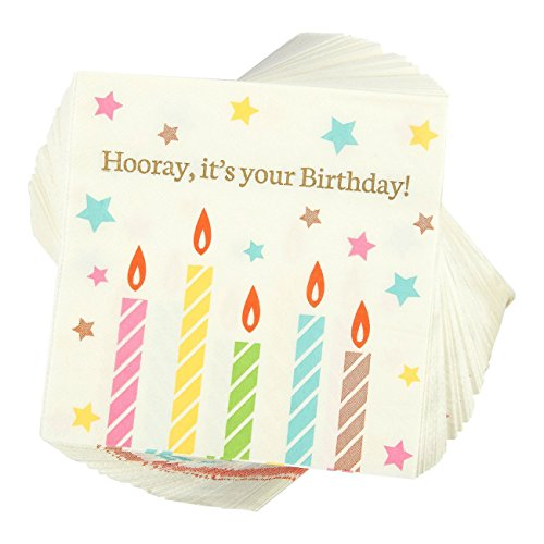 100-Pack Cocktail Napkins - Hooray It's Your Birthday! Disposable Paper Party Napkins - Perfect for Birthday Celebrations for All Ages! - 5 x 5 Inches Folded ()