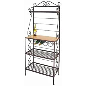 Connoisseur Bakers Rack with 5-Bottle Wine Rack