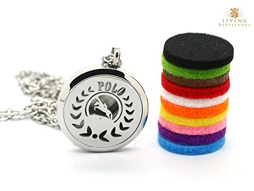 "Price comparison product image Aromatherapy Essential Oil Diffuser Necklace for Polo Fans or Players with 20"" & 24"" Chains and Pads. Wear All Day Fragrance from DoTERRA,  Young Living,  Edens,  Calily,  Saje,  Améo,  & Other. (Polo)"
