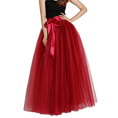 Lisong Women Floor Length Bowknot Tulle Party Evening Skirt 12 US Wine Red