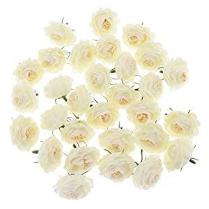 D DOLITY 30Pieces Silk Camellia Flower Head Bud Craft Wedding Background Flower Wall DIY Accessories 8 Colors Pick 101