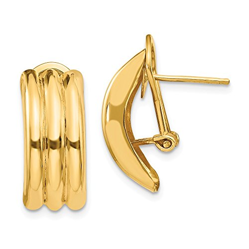 Mia Diamonds 14k Solid Yellow Gold Omega Post Earrings (20mm x 8mm)