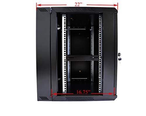 AEONS 12U Professional Wall Mount Network Server Cabinet Enclosure 19-Inch Server Network Rack 16-Inches Deep Black