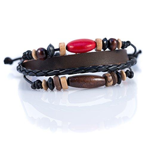 Moneta Jewelry Handmade Tribal Artisan Craft Multi Strand Bracelet Genuine Leather Fashion Accessory (Red -