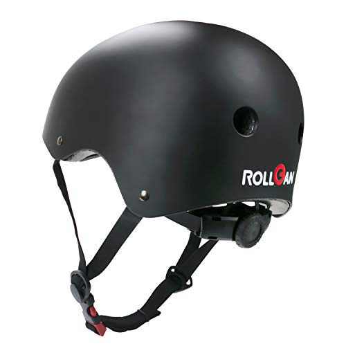 ROLLGAN Multipurpose Tough Sports Black Helmet CPSC for Skateboarding Rollerskating Biking Cycling Commuting Scooter BMX