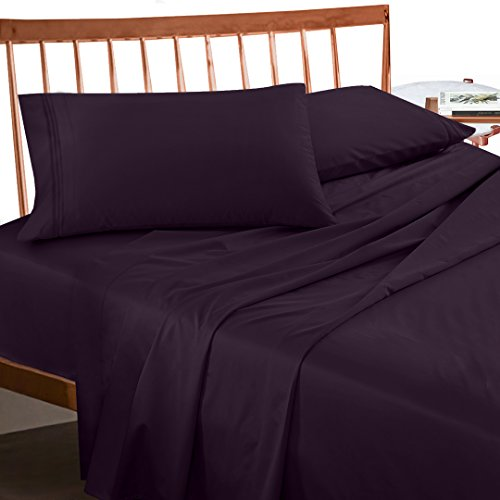 Premium Queen Size Sheets Set - Purple Eggplant Hotel Luxury 4-Piece Bed Set, Extra Deep Pocket Special Super Fit Fitted Sheet, Best Quality Microfiber Linen Soft & Durable Design + Better Sleep Guide