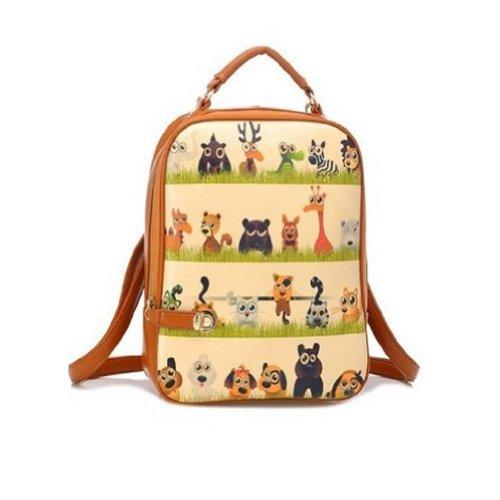 New Fashion Vintage Picture Print Women Pu Leather Backpack Daypack School Shoulder Bookbag Hand Bag (animal print)