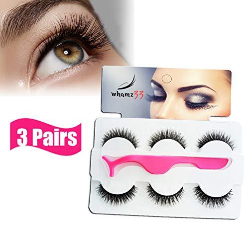 3 Pairs Fake Eyelashes Reusable 3D Handmade False Eyelashes Soft Natural with False Lashes Applicator,Long Strip False Lashes, Dramatic Fluffy Faux Lashes for Party