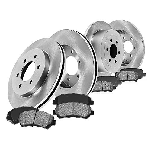 FRONT 308 mm + REAR 312 mm Premium OE 6 Lug [4] Rotors + [8] Metallic Brake Pads