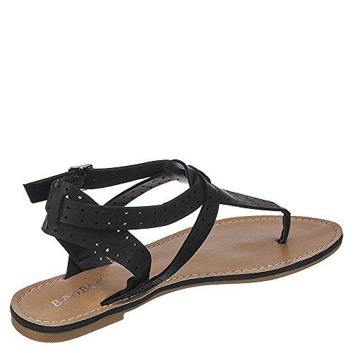 Bamboo Womens Armin-46 Thong Sandal Sandal Black qSLFr