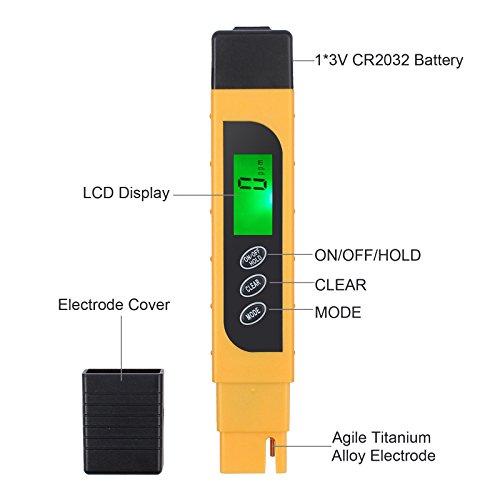 Water Quality Tester, TDS Meter, EC Meter & Temperature Meter 3 in 1, 0-9990ppm, Ideal Water Test Meter Drinking Water, Aquariums, etc. by ht-dd (Image #4)