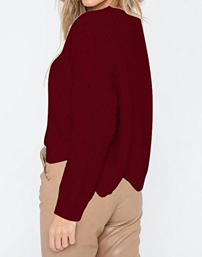 Hiver Manches Hauts Tricots Pulls Irrgulier Longues Col Sweater Shirts Mode Sweat Rond Tops Femmes Jujube Pullover Jumper Blouse Chandail Automne qYBESE