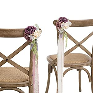 Ling's moment Wedding Aisle Decorations Set of 8 Pew Flowers with Tails for French Style Wedding Decorations 21