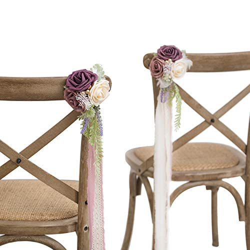 Ling's moment Wedding Chair Decorations Flowers Wedding Aisle Decor Flowers Set of 8 Dusty Rose/Plum/Cream
