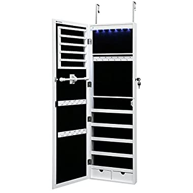 SONGMICS Lockable Jewelry Cabinet Wall Door Mounted Jewelry Armoire Organizer with Mirror LED Light, White