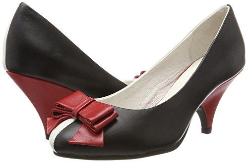 Mujer red Negro Con Cerrada Lola Zapatos De black 44 Ramona Lola Punta Tacón cream Para x7SqzSav