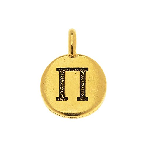 TierraCast Greek Alphabet Charm, Pi Symbol 16.75x11.75mm, 1 Piece, Antiqued Gold Plated ()