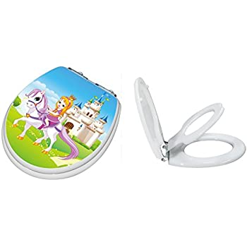 TOPSEAT TinyHiney Potty Round Toilet Seat, Adult/Child, w/ Slow Close Chromed Metal Hinges, Wood, Princess