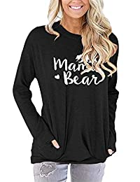 onlypuff Women's Long Sleeve Casual Pullover Sweatshirts