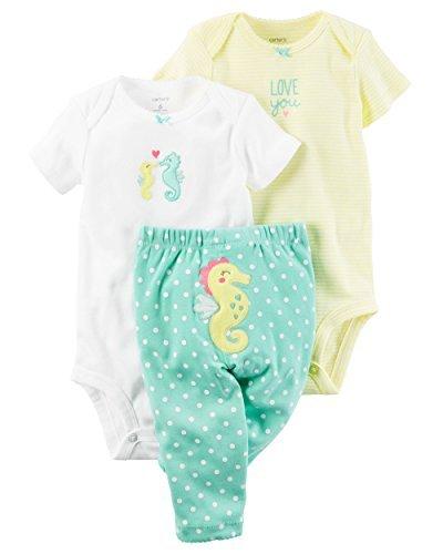 Carters Baby Girls 3 Piece Take Me Away Set (Baby) - Seahorse 3M -