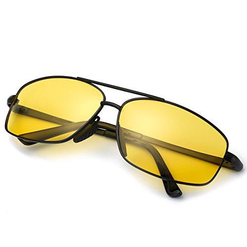 100 Protección UVA Ultraligero Reflectante Los Negro Gafas Nocturna Hombre Conduccion Anti Contra Amarilla Dañi Rayos Rectangulares amarillo Polarizadas Metal ELIVWR de UVB OqPfB4