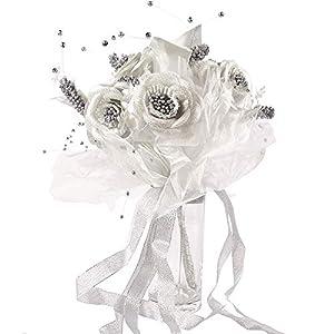 MARJON FlowersMetallic Gold or Silver Bridal Bouquet! Bride Wedding Fake Artificial Flowers[Silver,16022007-2] 4
