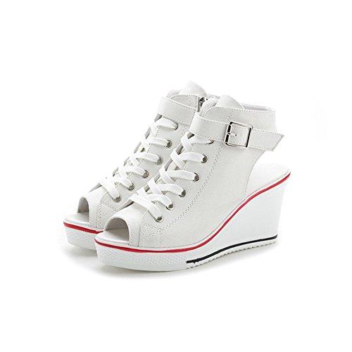 de Lona de 36 Blanco de 2018 Abierta Pescado Zapatillas Sandalias de Zapatos Zapatos Color Punta tamaño Lona de Sandalias Primavera Lona Hueca Damas Verano de y Boca Mujer Zapatos TqPf7d