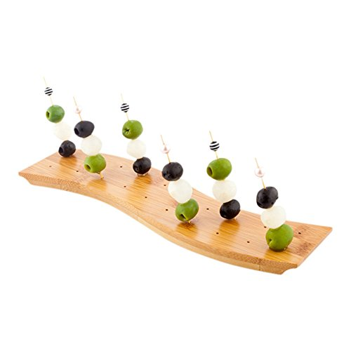 12-IN Curved Bamboo Food Skewer Holder: Perfect for Cocktail Parties and Catering Events – Biodegradable and Eco-Friendly Pick Stand and Food Display – 20-holes – 1-CT – Restaurantware by Restaurantware