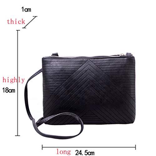 Moda Solid Khaki Cuero Messenger Black Mujer Bag fPz6wP