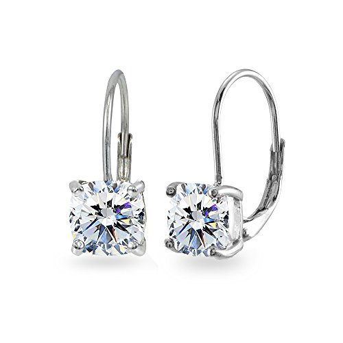 Sterling Silver 7x7mm Cushion-Cut Leverback Earrings Made with Swarovski Zirconia