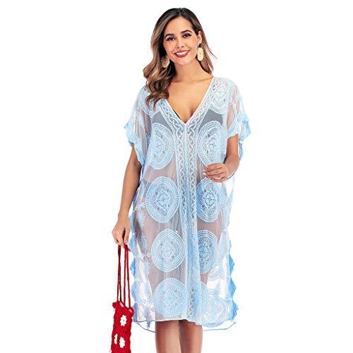 DedSecQAQ Mujer Suelto Bordado Transparente Trajes de baño Ropa de ...