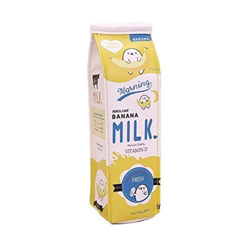 Aikesi crayon Sac pour étudiant Lovely Simulation PU Milk-box Cosmétique Sac pochette de pièce de monnaie avec fermeture à glissière 1pcs 2.36*2.36*8.66inch jaune