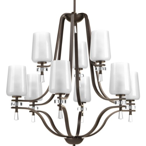 Progress Lighting P4090-20 9-Light 2-Tier Chandelier With Clear Outside And Etched Inside Glass Shades, 18 34