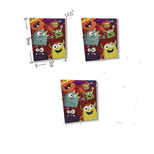 Monster Gift Bags – Set of 3 Premium Quality Gift Bag Sets Glitter Detail Inside Print Plus Gift Tag (Monster Party Fun, 3 Jumbo)