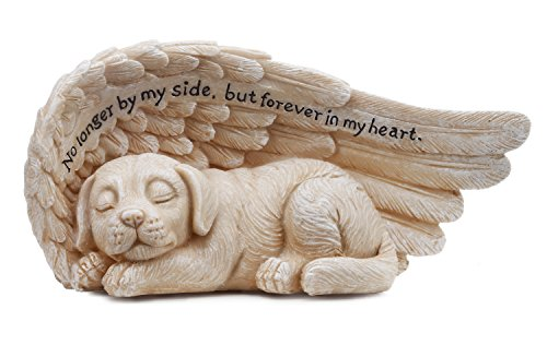 Napco 11146 Small Sleeping Dog in Angel's Wing Garden Statue with Inscription, 8 x 4""